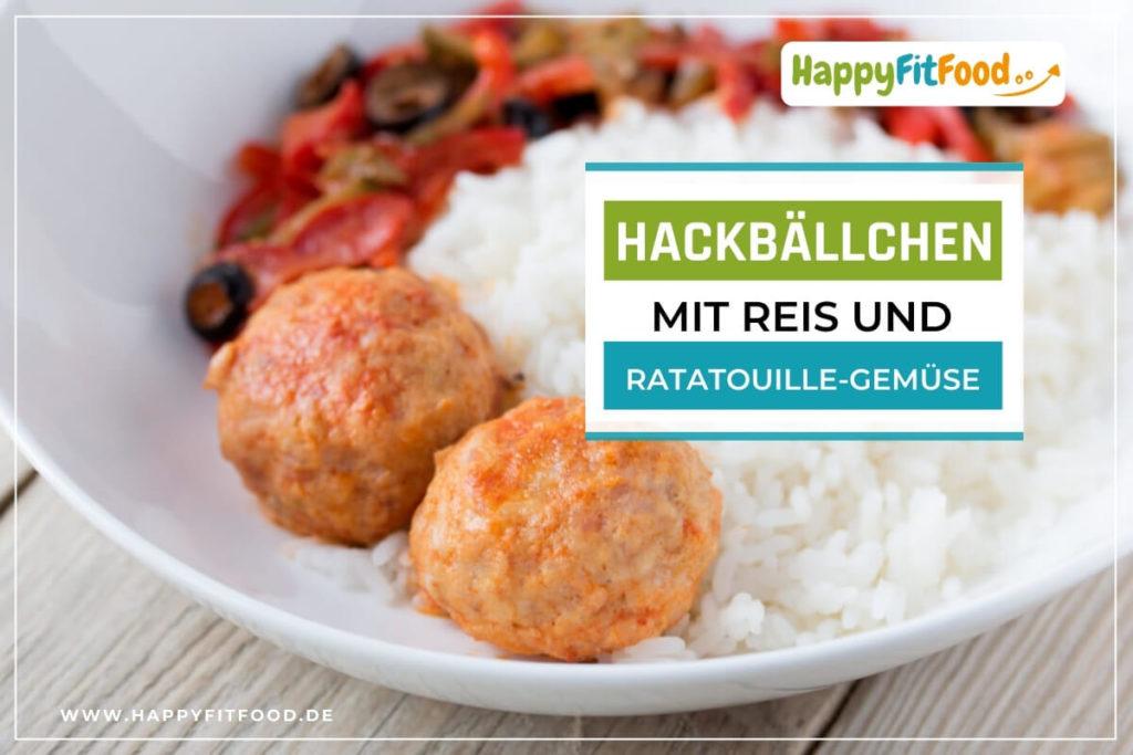 Hackbällchen Gericht mit Reis und Ratatouille-Gemüse
