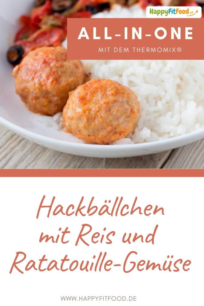 Hackbällchen Thermomix All-in-one-Gericht mit Reis und Ratatouille-Gemüse