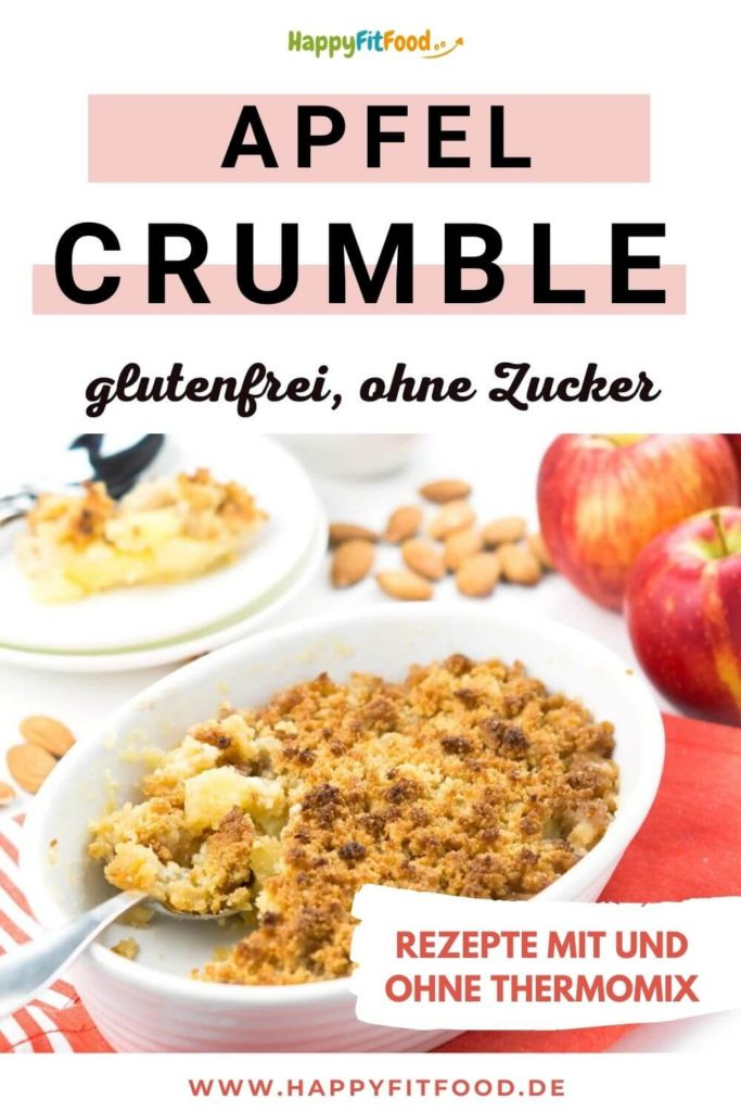 Apfel Crumble Rezept glutenfrei ohne Zucker mit und ohne Thermomix
