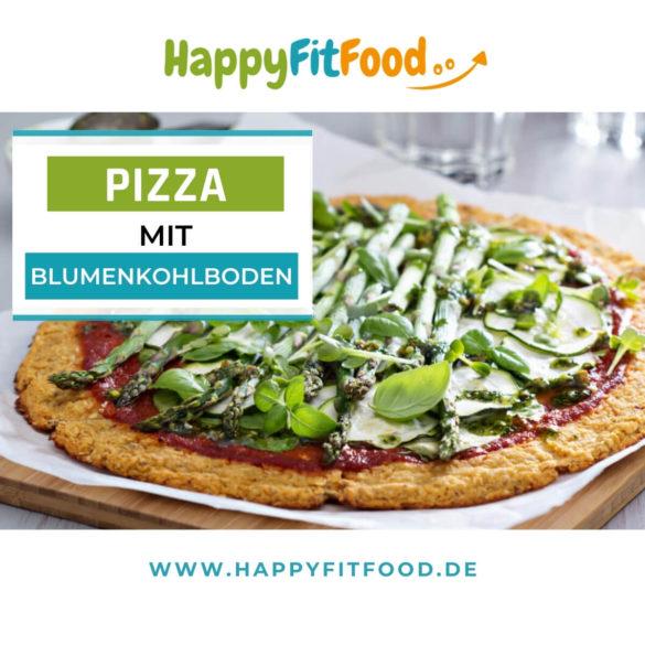 Blumenkohl Pizzaboden für Low Carb Pizza mit Blumenkohlteig aus Blumenkohlteig mit grünem Spargel