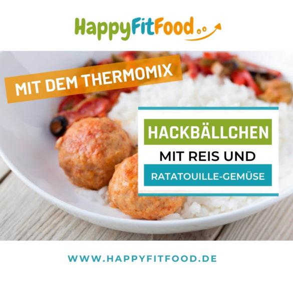Hackbällchen Thermomix All-in-One Gericht mit Reis und Ratatouille-Gemüse