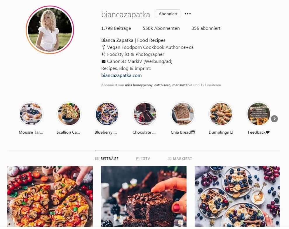 Bianca Zapatka Instagram Profil