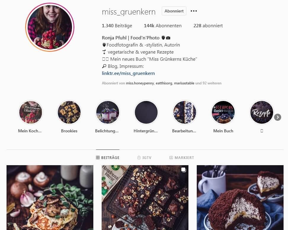 Ronja Pfuhl alias Miss Grünkern auf Instagram