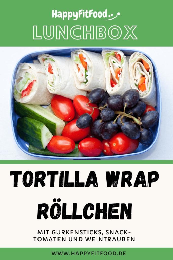 Lunchbox mit Tortilla Wrap Röllchen für das Essen to go für Arbeit, Uni oder Schule
