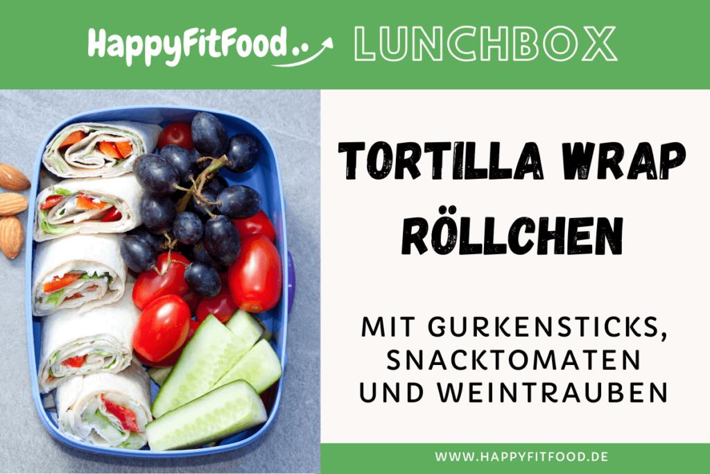 Lunchbox mit Tortilla Wrap Röllchen für das Essen to go