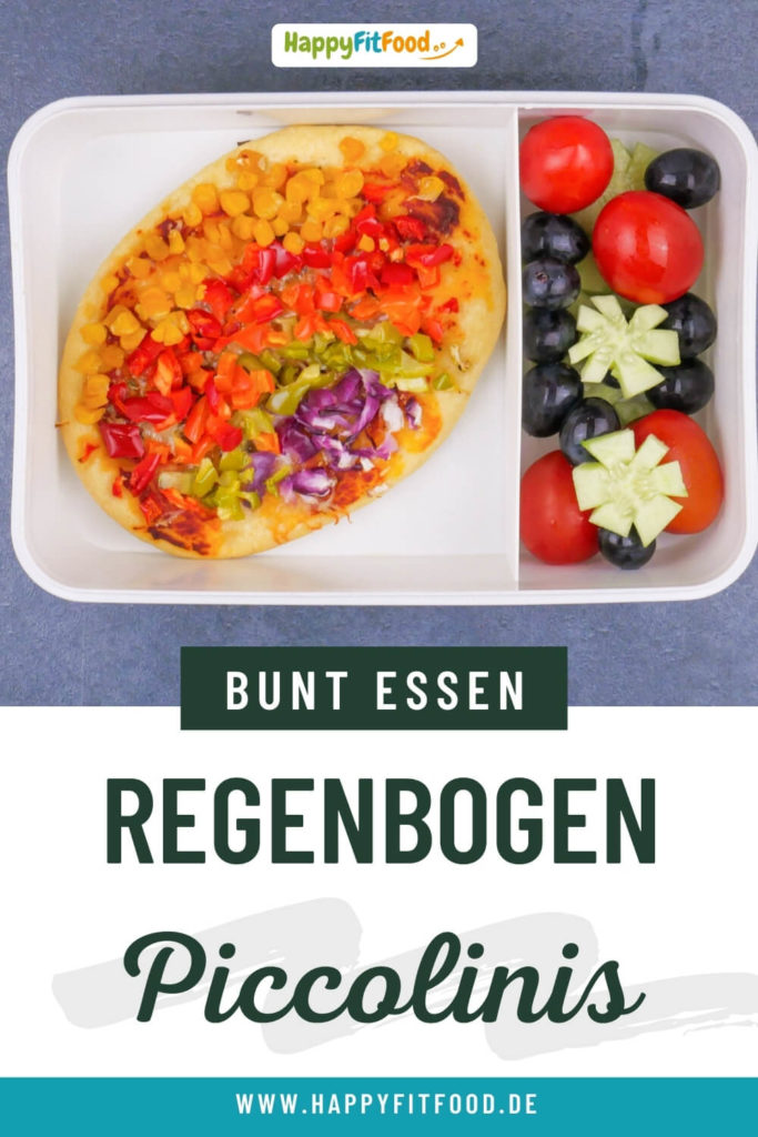 Mini Pizza Rezept Regenbogen Piccolinis für Kinder Lunchbox oder Kindergeburtstag