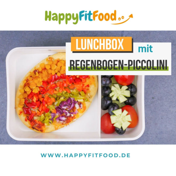 Mini Pizza mit Regenbogen Piccolinis in der Kinder Lunchbox