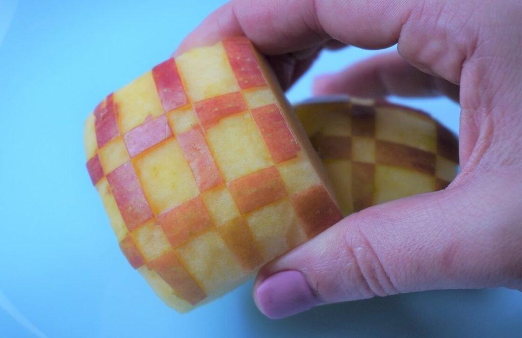 Apfel schnitzen Karo Quadrate groß und klein für Kinder Lunchbox, Bento box, Pausendose