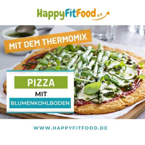 Blumenkohl Pizza Thermomix Rezept Low Carb mit grünem Spargel