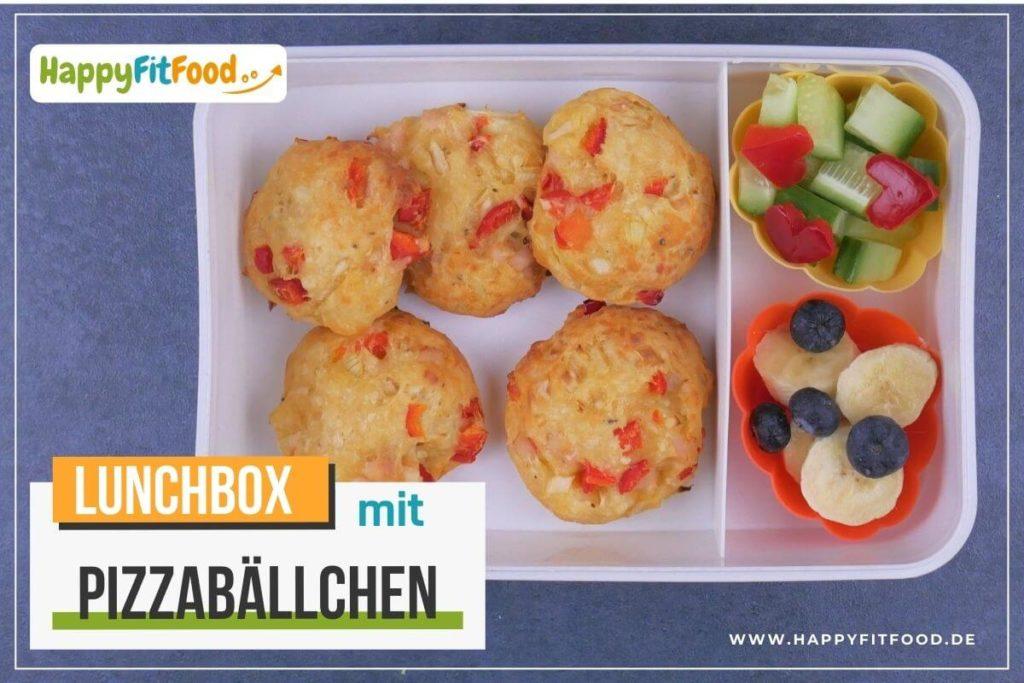 Lunchbox mit Pizzabällchen Essen to go zum Mitnehmen