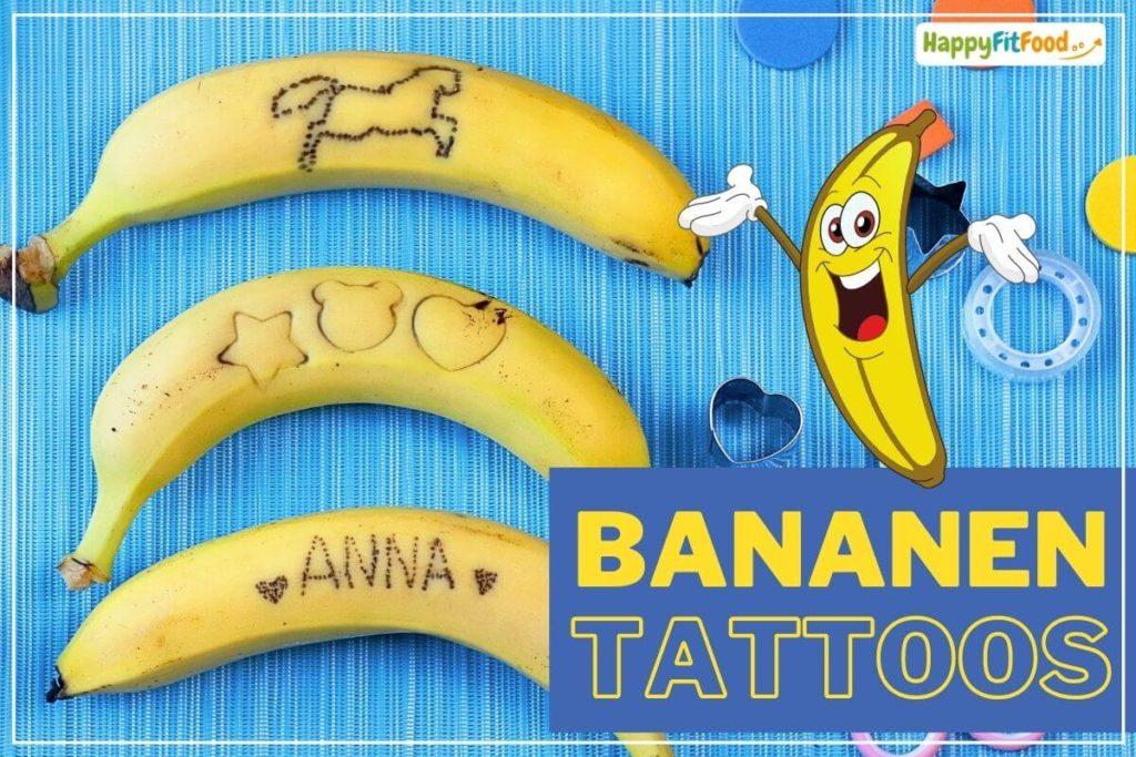Bananen Tattoo Kinder Pausensnack Banane tätowieren