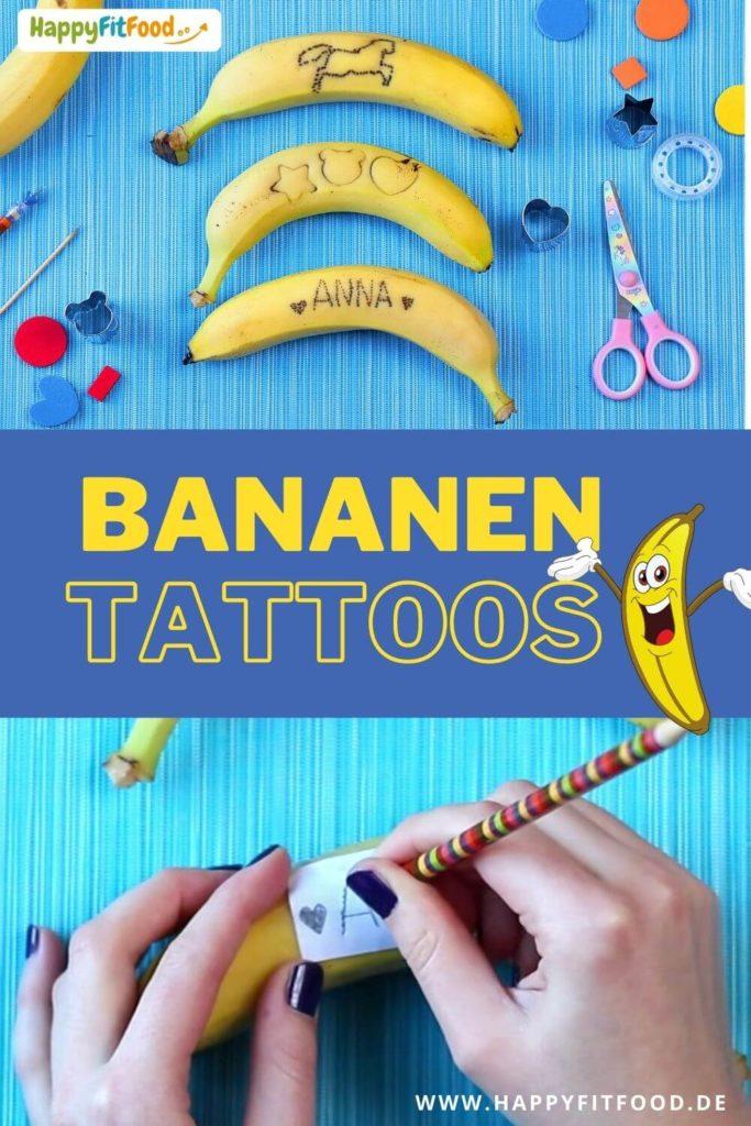 Bananen Tattoo Pausensnack Kinder Banane tätowieren Schulpause Idee