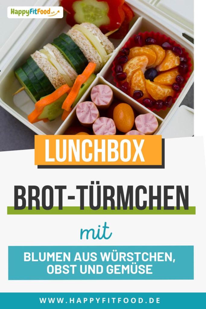 Lunchbox mit Pausenbrot Turm für die Kinder Pause oder Essen zum Mitnehmen für die Arbeit als ausgewogene Pausenidee