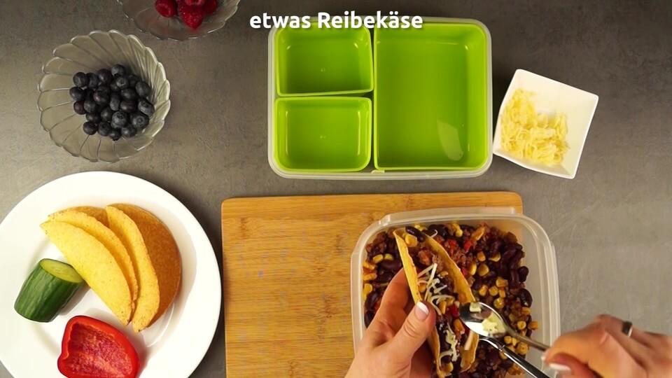 Taco befüllen für die Lunchbox und das Essen für die Arbeit