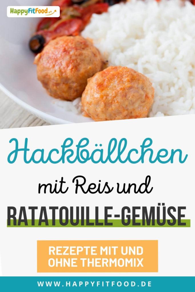 Hackbällchen Gericht mit Reis und Ratatouille-Gemüse für die schnelle Feierabendküche