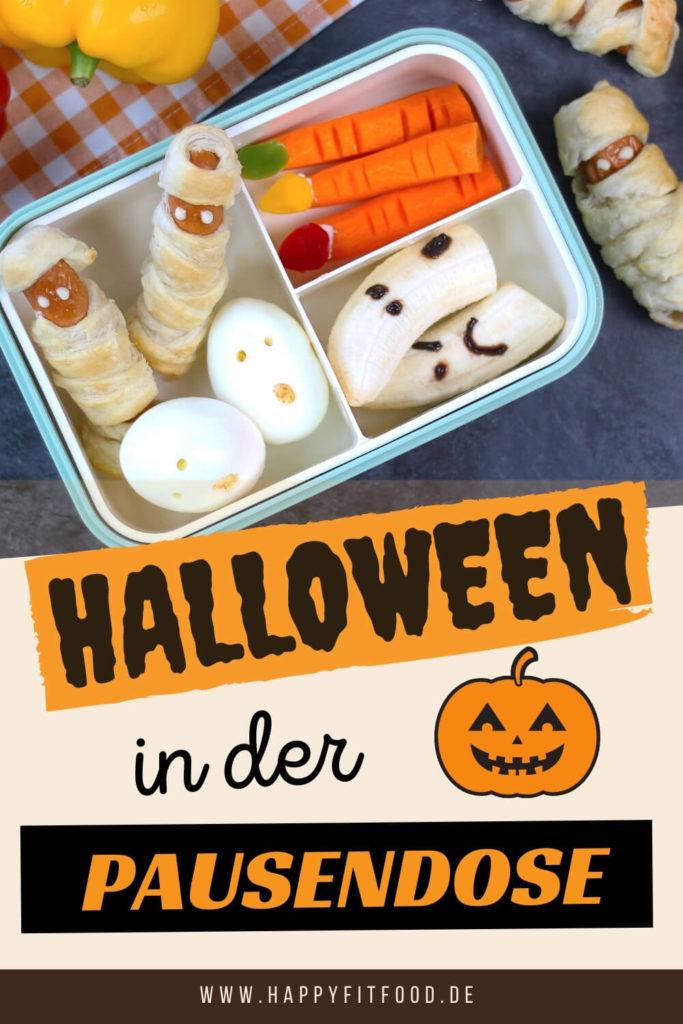 Halloween Häppchen als gruseliges Fingerfood in der Kinder Pause