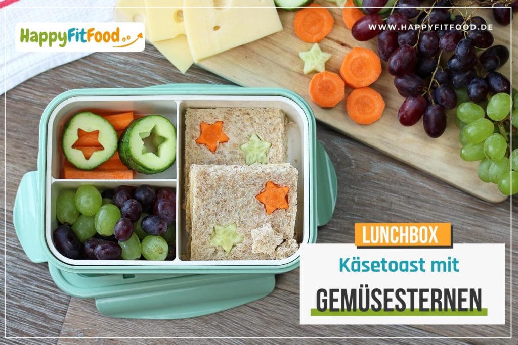 Käsetoast mit Gemüsesternen in der Kinder Pausendose oder Lunchbox