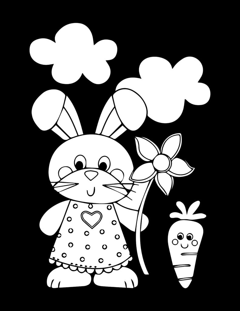 Osterhase zum Ausmalen mit Blume und Karotte - kostenlos herunterladen